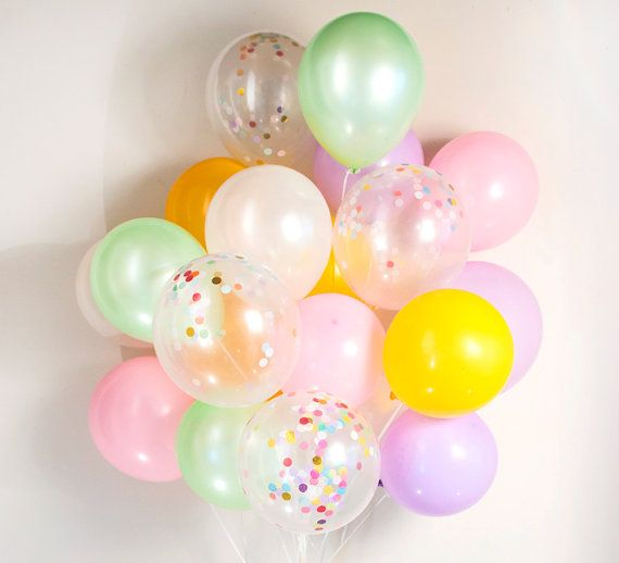 Pastel confetti balloons :-) set of 20, ice cream, candy, birthday party - AU free shipping