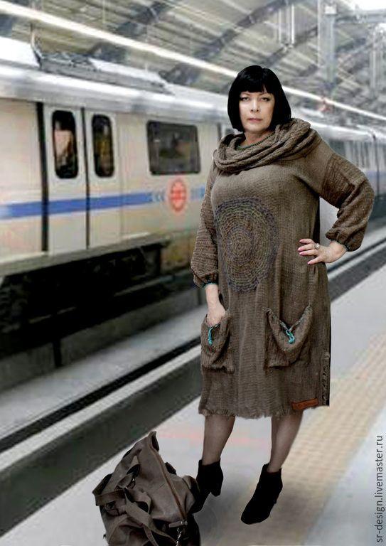 Купить платье бохо Ра в поездку - коричневый, однотонный, серо-коричневый, серо-бежевый, пыль