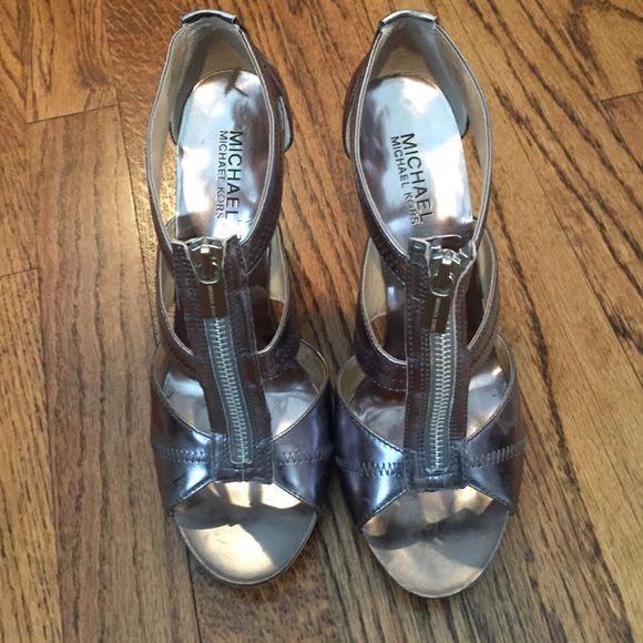 Silver zip up heels Silver zip up heels MICHAEL Michael Kors Shoes Heels