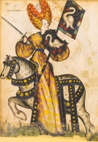"nihtegale: "" Penthesilea with swans as a coat of arms, c.1460-1470 """