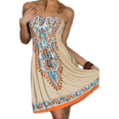 ACVIP Women's Bohemian Beach Dresses Khaki * Read more reviews of the item by visiting the link on the image.