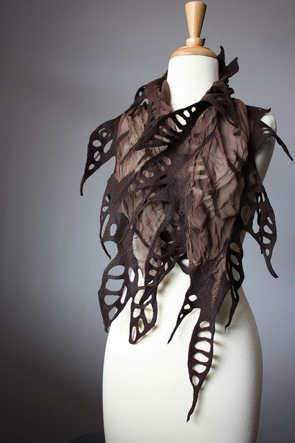 Nuno felted fashion scarf in Chocolate woman silk wool spring | Flickr - Photo Sharing!