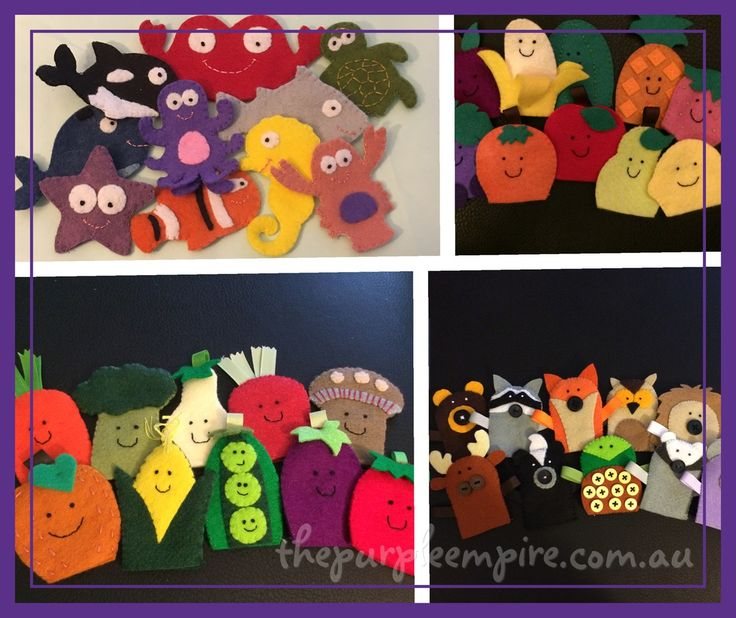 A set of ten felt finger puppets, made to the brilliant patterns of Precious Patterns. All puppets are hand sewn by me, using a mixture of 100%...