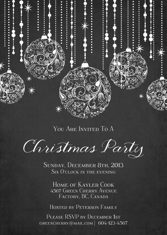 Printable Sparkle Christmas Invitation by GreenCherryFactory