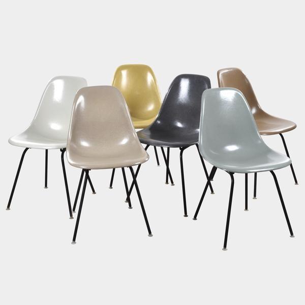 Vintage Eames DSX Set (Parchment, Greige, Ochre Light, Elephant Hide Grey, Sea Foam Green, Tan Light) www.joink.nl