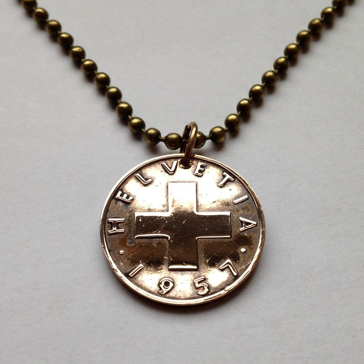 1957 switzerland 2 rappen coin pendant necklace jewelry for Jewelry stores in geneva switzerland