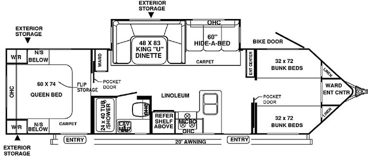 Travel trailer bunk house 30wtbs 22 336 i really like for Bunkhouse floor plans