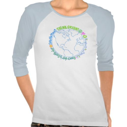 """Think green and help save the planet with this multiple message design. """"Peace, Love, Recycle"""", """"Think Green"""", and more eco-conscious slogans come together to create a fun and colorful image that promotes conservation. Great for Earth Day too! #go #green #think #green #save #the #planet #global #warming #climate #change #save #the #world #environmental #awareness #peace #love #recycle #earth #day #slogans #conservation #slogans #nature #earth #day #conservation #recycle #be #green #organic…"""