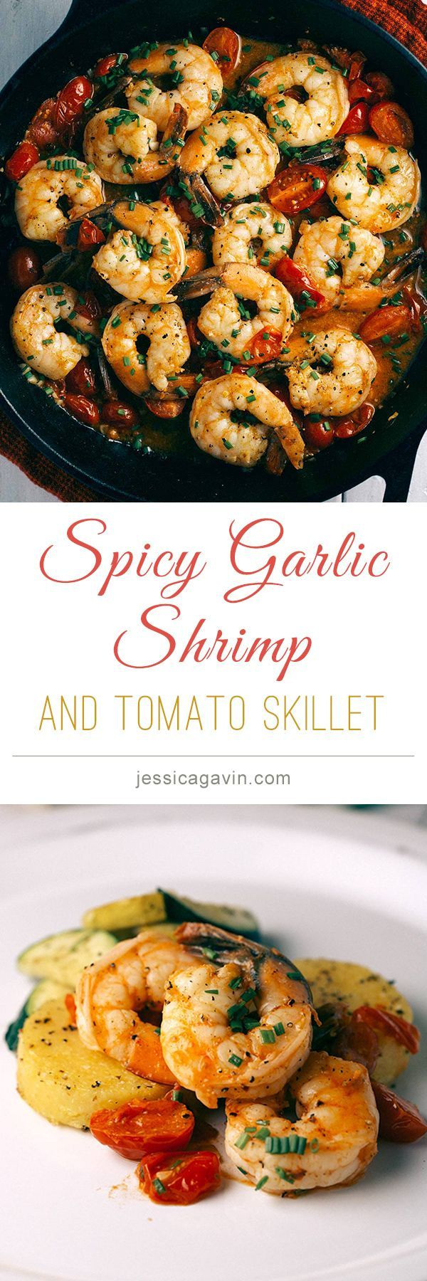 Spicy Garlic Jumbo Shrimp and Tomato Skillet | jessicagavin.com #seafoodrecipes #appetizer