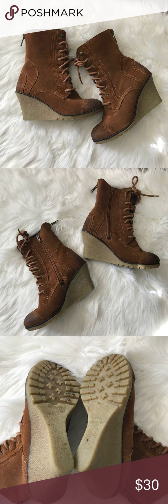 Skechers Wedge Leather Boots - Sz 6.5 Excellent pre-loved condition leather Wedge Boots by Skechers. Size 6.5. They zip up on the inside making it easy to put them on. See pics and don't hesitate to ask any questions. Skechers Shoes Ankle Boots & Booties