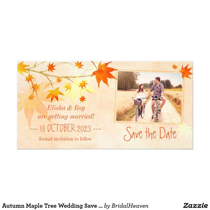 Autumn Maple Tree Wedding Save the Date Photo Card Elegant fall maple leaves in shades of gold, orange & red + textured background in shades of salmon illustrated on custom Wedding Save the Date Photo Cards. Beautiful & classy photo save the date you can easily personalize with your own wording & picture. Perfect stationery for a FALL COUNTRY WEDDING | ELEGANT AUTUMN WEDDING or CASUAL RURAL WEDDING! Feel free to change the sizes, colors & fonts of the text as well. ((You can find the…