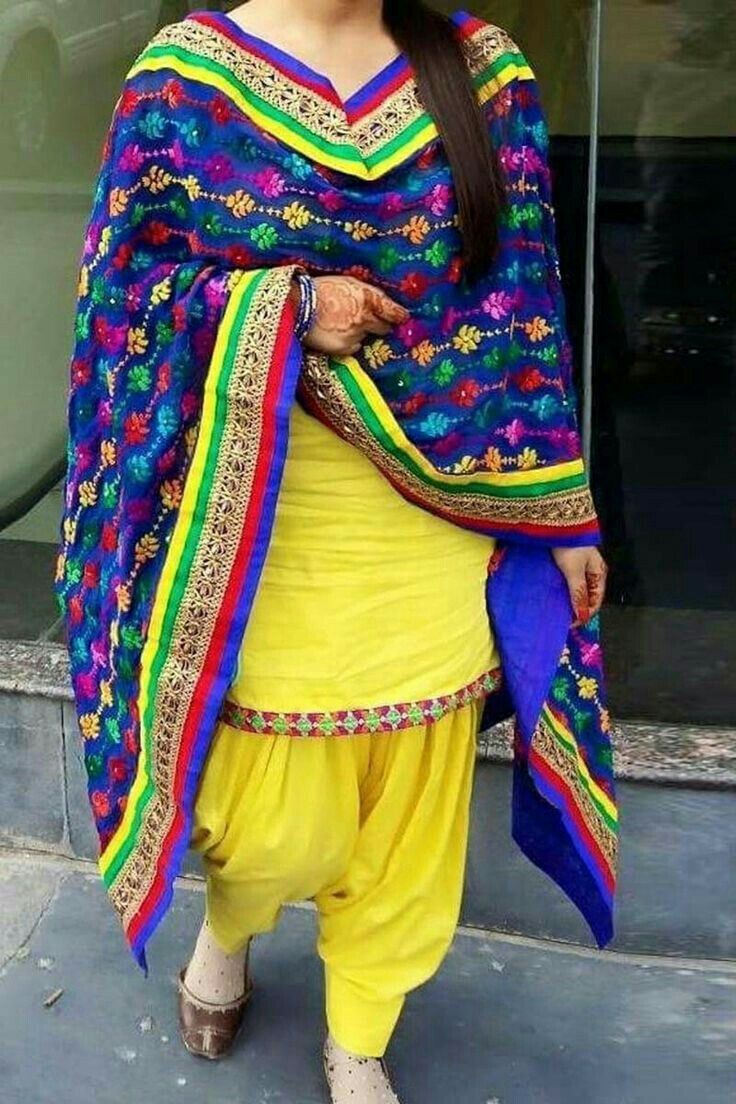 Yellow Patiyala kameez with embroidered dupatta...