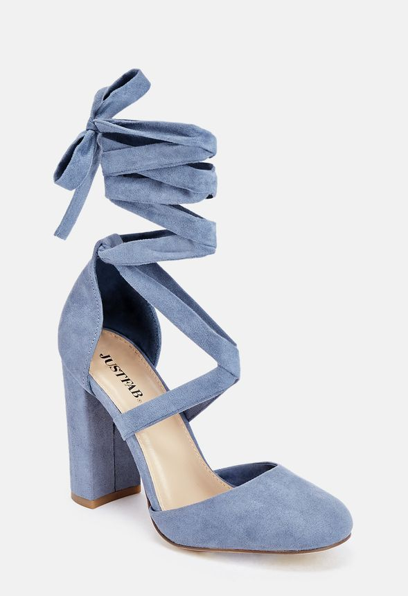 Turn up the heat in these ready-to-slay faux suede heels with a block heel and ankle tie closure.