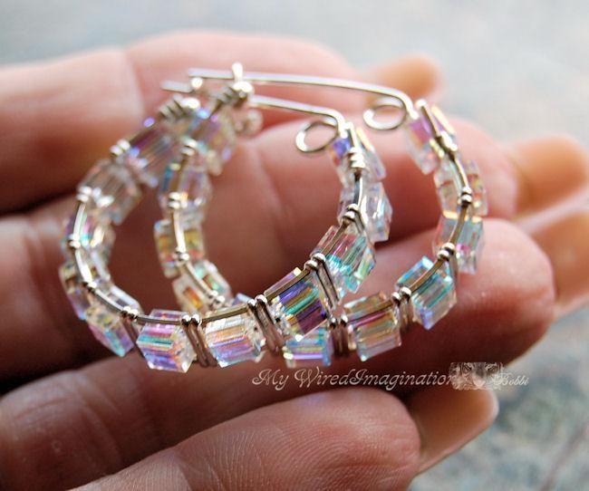 (5) Name: 'Jewelry : Crystal Hoop Earring Wire Wrapping