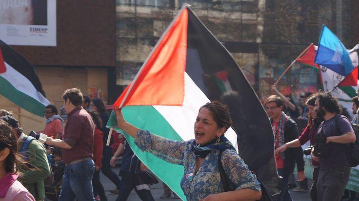 Contra la matanza de los niños y el pueblo palestino en la franja de gaza, Santiago Chile.