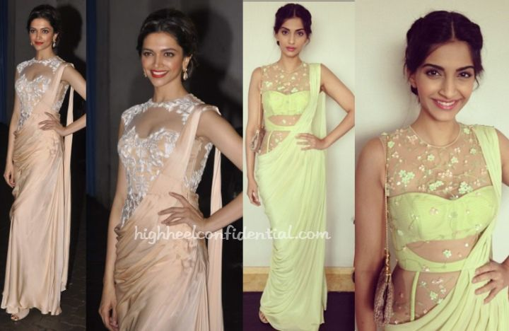 Deepika visited the India Idol Jr. sets today to promote Chennai Express. For her appearances, she picked a silk sari gown by Sonaakshi Raaj that instantly reminded of Sonam's appearance (also in Sonaakshi Raaj) at BMB promotions.
