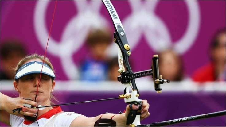 Naomi Folkard of Great Britain competes in the women's individual archery 1/16 eliminations match against Mariana Avitia of Mexico at Lord's Cricket Ground