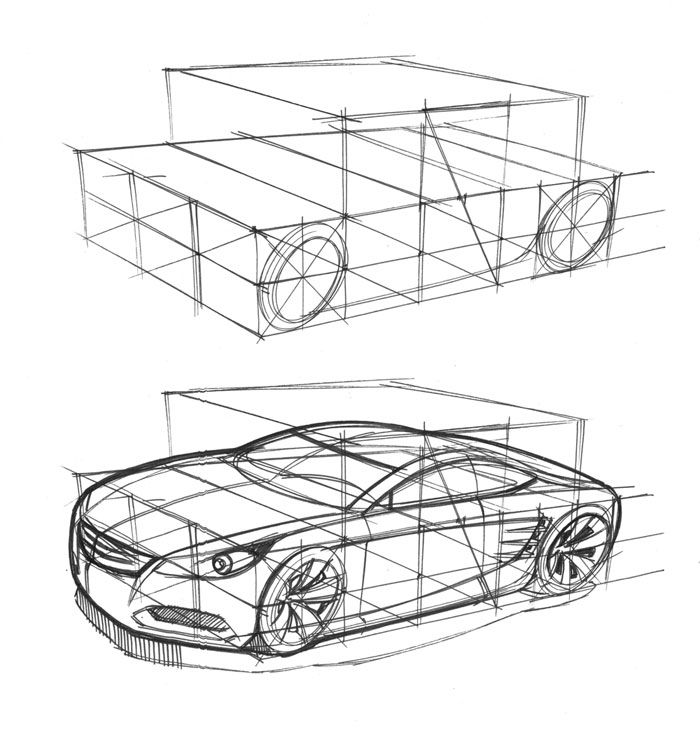 Sketch of a car by designer Spencer Nugent