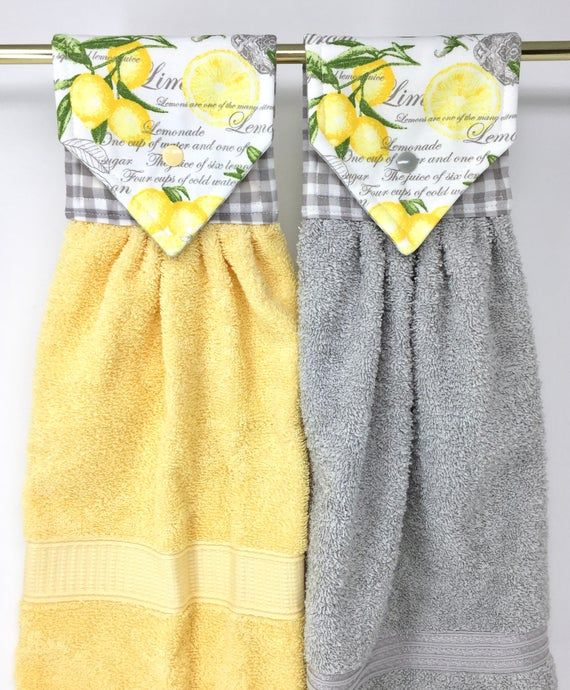 Gray And Yellow Hanging Hand Towel With Fresh Lemons The Lining