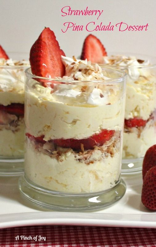 Strawberry Pina Colada Dessert. This looks so dee-lish! Can't wait to make this one. I have to make my own pudding though, since Cambodia does not sell instant pudding. I hope they realize what they are missing and start selling that amazing stuff:)