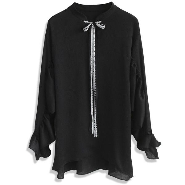 Chicwish Time to Leisure Oversized Smock Top in Black (€40) ❤ liked on Polyvore featuring tops, black, smock top, smocked top and oversized tops