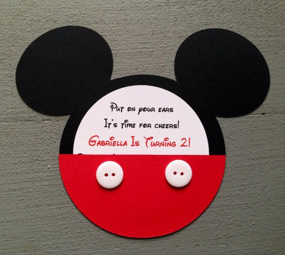 Individuelle Handarbeit Inspiriert Mickey Mouse Einladungen Mit Echten  Knöpfen