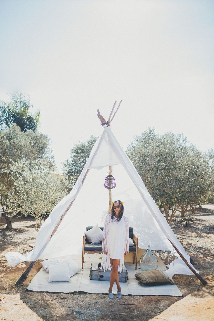 Wedding festivals are a thing and they are amazing. Glamping, tipis and bonfires in an Olive Grove at this bohemian wedding. Photo:  Liron Erel