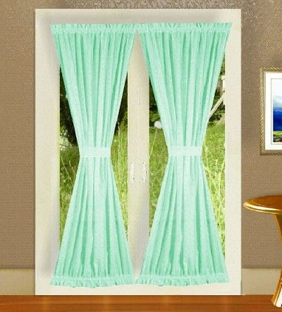 Mint green french door curtains i want these they are beautiful dream home pinterest - Mint green kitchen curtains ...
