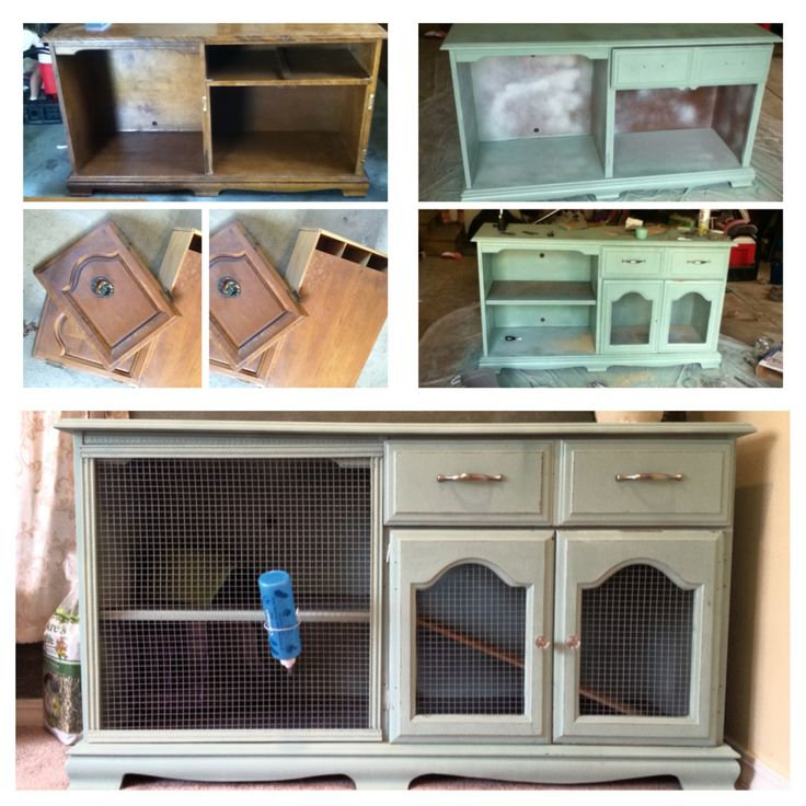 DIY Bunny Hutch Had a hard time finding an inspiration piece, but I love how our shabby cabinet turned into a chic indoor bunny hutch!