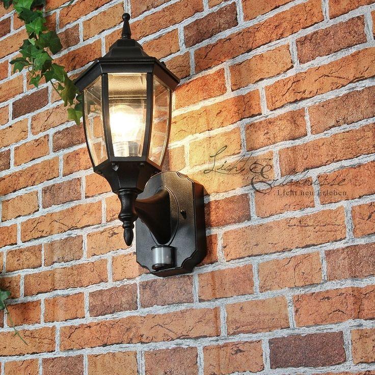 Außenwandleuchte mit Bewegungsmelder schwarz Laterne Wandleuchte Außen Sensor in Garten & Terrasse, Beleuchtung, Decken- & Wandleuchten   eBay!