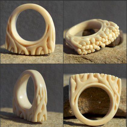 """Кольца ручной работы. Ярмарка Мастеров - ручная работа. Купить Кольцо """"Коралл"""". Handmade. Кольцо, перстень, серебро, кость"""