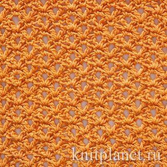 Планета Вязания | Мелкий сетчатый узор крючком. Схема вязания узора крючком.