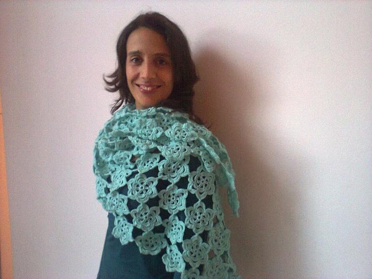 xaile verde menta em crochet