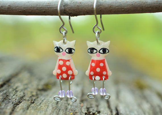 Cat Earrings Adorable Enameled Stainless Steel by CinkyLinky