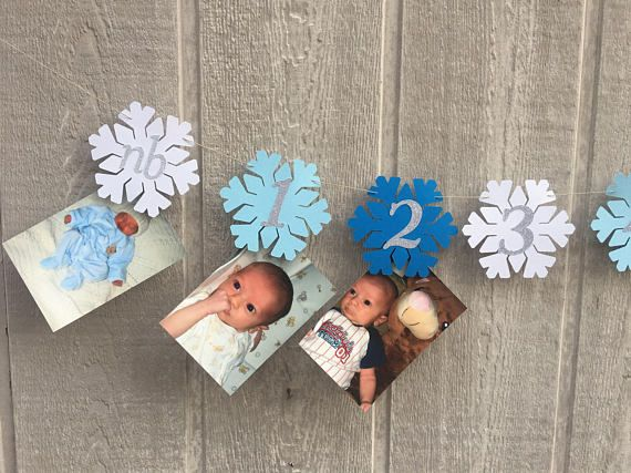 Snowflake photo banner blue and silver winter onderland