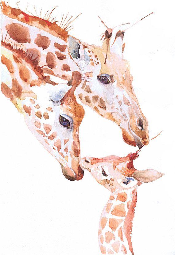 Aquarelle originale de girafe ooak peinture oeuvres par ValrArt