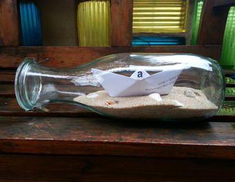 Geschenkverpackung: Flasche mit Gutschein als Schiff Geldgeschenk,Schiff,Flasche,Gutschein,Weck