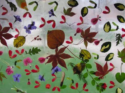 contact paper nature collage: fun for spring to go on a nature walk and create art with our findings.
