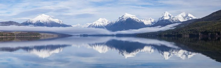 #alpine #clouds #glacier national park #lake mcdonald #landscape #montana #mountains #nature #panorama #peaks #reflection #scenic #snow #travel #usa #water