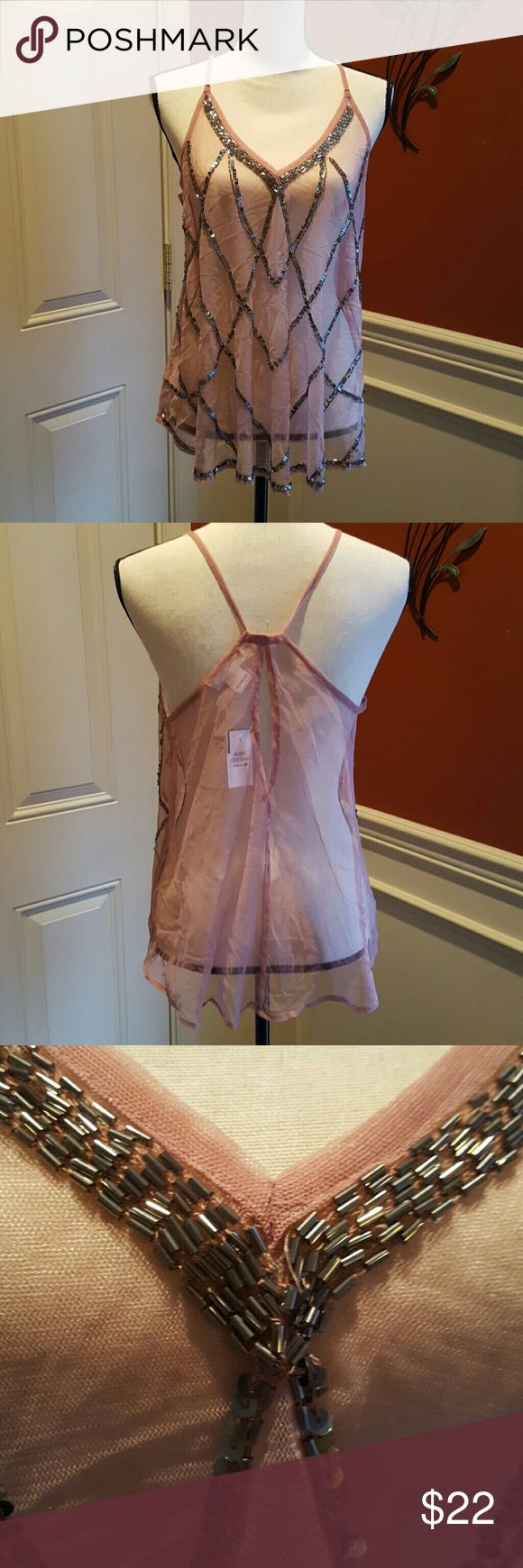 Body Central Sheer Embellished Camisole NWT NWT Dressy, Sheer, sequins& a key hole backed Camisole. Beautiful! Body Central Tops Camisoles
