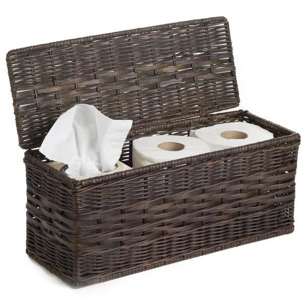 Image Gallery Website LIDDED WICKER BOX This bathroom storage basket is perfectly designed to screen tissues and toilet