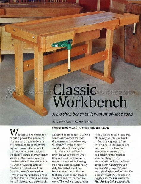 Classic Workbench Plans Workshop Solutions Garage Shop