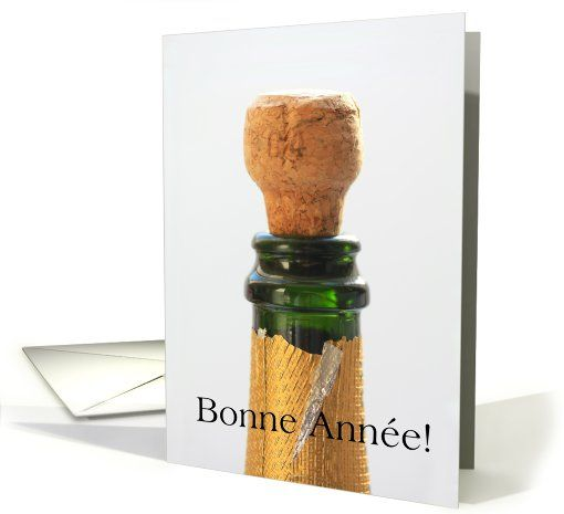 French Happy New Year - champagne bottle and cork card