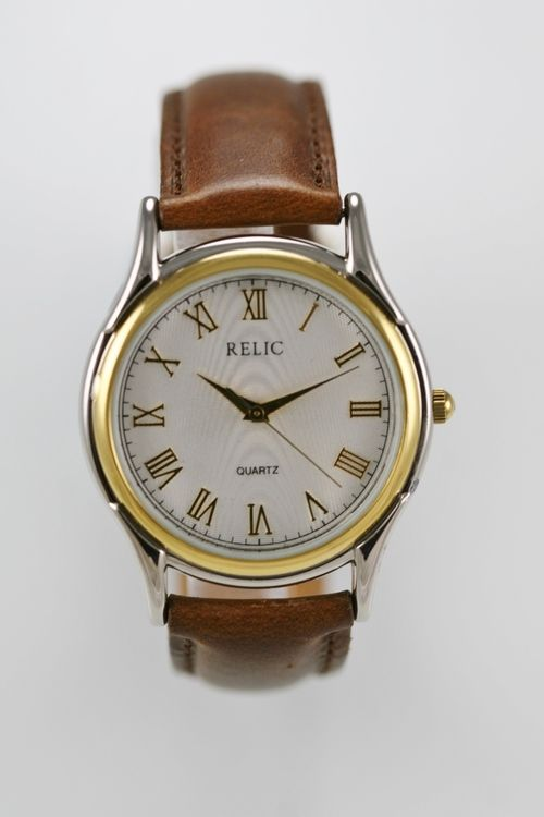 Relic Watch Men Gold Silver Stainless White Water Resistant Leather Brown Quartz