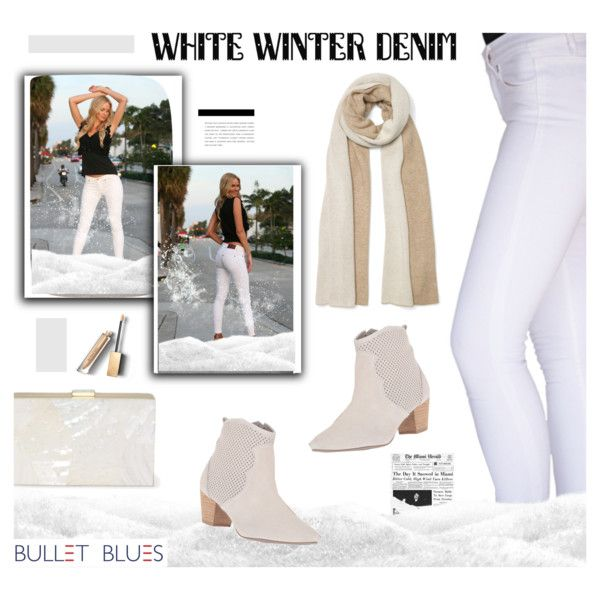 White Winter Denim with Bullet Blues 'Miami Chic' Skinny jeans made in USA by bulletblues on Polyvore featuring Sbicca, Club Monaco, Burberry and Bullet