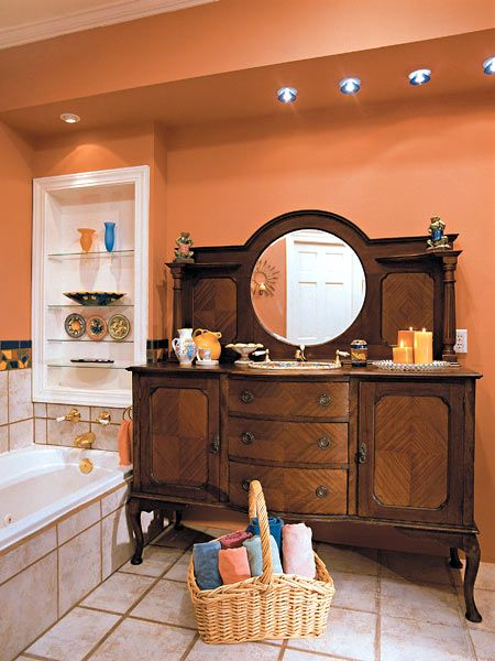 110 best images about vanity design on pinterest for Warm bathroom colors