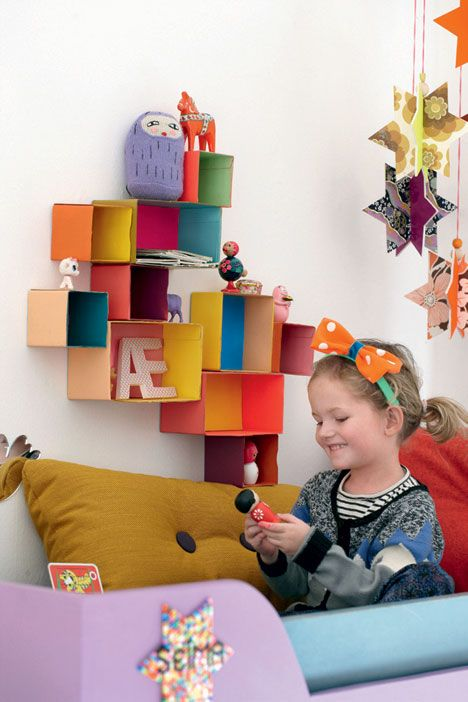 boxes....DIY with cardboard boxes (from old packaging).: Cardboard Shelves, Decor Ideas, Cardboard Boxes, Boxes Shelves, Wall Storage, Boxes Diy Shelves, Display Shelves, Construction Paper, Kids Rooms