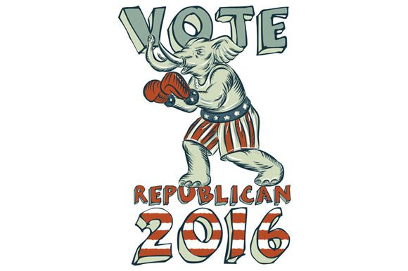 Vote Republican 2016 Elephant Boxer - Illustrations - 1. Etching engraving handmade style illustration of an American Republican GOP elephant boxer mascot boxing with boxing gloves wearing USA stars and stripes flag shorts viewed from side set on isolated white background with words Vote Republican 2016.The zipped file includes editable vector EPS, hi-res JPG and PNG image. #etchingillustration   #VoteRepublican2016