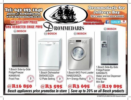 Drommedaris is closed today on National Human Rights Day but will be open again tomorrow for your convenience and brings you even more great offers. Save up to 20% on these Bosch appliances. offers valid whilst stocks last. #appliancespecials #homedecor #lifestyle