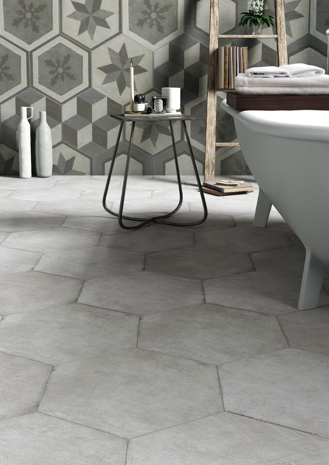 """Settecento - Gea. Multicolored glazed porcelain tiles designed in a """"cementine"""" style create a timeless deco-chic atmosphere. #Cersaie2015"""